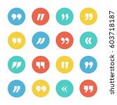 quotes icon vector set on a... | Shutterstock .eps vector #603718187