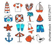 hand drawn icons for summer sea ... | Shutterstock .eps vector #603719477