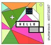 trendy vector summer cards... | Shutterstock .eps vector #603720287