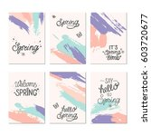 set of artistic creative spring ... | Shutterstock .eps vector #603720677