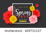 spring sale background layout... | Shutterstock .eps vector #603721127
