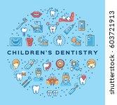 hildren's dentistry circle... | Shutterstock .eps vector #603721913