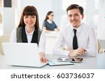 business people working with... | Shutterstock . vector #603736037