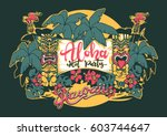 hawaii. tiki statues  palm... | Shutterstock .eps vector #603744647