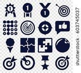 challenge icons set. set of 16... | Shutterstock .eps vector #603745037