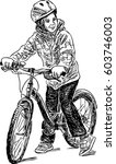 sketch of a kid on a bicycle | Shutterstock .eps vector #603746003