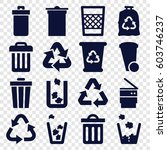 waste icons set. set of 16... | Shutterstock .eps vector #603746237