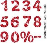 hearts numbers set.... | Shutterstock . vector #603753383