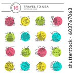 vector set of line icons with...   Shutterstock .eps vector #603767063