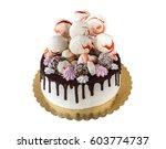 cream cake with chocolate... | Shutterstock . vector #603774737