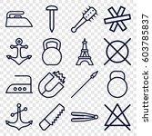 iron icons set. set of 16 iron... | Shutterstock .eps vector #603785837