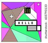 trendy vector summer cards... | Shutterstock .eps vector #603793133