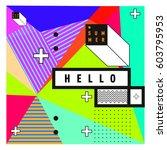 trendy vector summer cards... | Shutterstock .eps vector #603795953