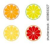 vector citrus fruits orange ... | Shutterstock .eps vector #603803327