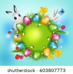 grass circle with bright... | Shutterstock . vector #603807773
