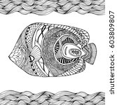 hand drawn stylized fish with... | Shutterstock .eps vector #603809807