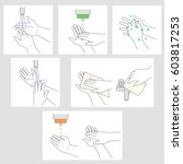 wash hands and apply... | Shutterstock .eps vector #603817253