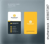 Vertical business card print template. Personal business card with company logo. Black and yellow colors. Clean flat design. Vector illustration. Business card mockup | Shutterstock vector #603837287