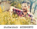 close up gardener cutting a... | Shutterstock . vector #603840893