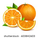oranges whole  cut and slice of ... | Shutterstock .eps vector #603842603