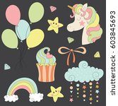 set of clip art with unicorn ... | Shutterstock .eps vector #603845693