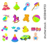 set 16 cartoon vector kids toys | Shutterstock .eps vector #603846953