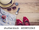travel clothing accessories... | Shutterstock . vector #603851063