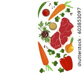 banner of raw food for cooking. ... | Shutterstock .eps vector #603853097