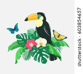 toucan and butterflies on palm...   Shutterstock .eps vector #603854657