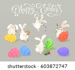 cute easter bunnies coloring... | Shutterstock .eps vector #603872747