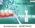 electric oral irrigator ads.... | Shutterstock .eps vector #603873443