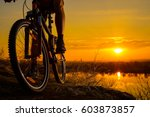 Silhouette Of Enduro Cyclist...