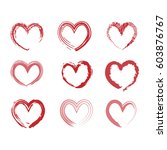 set of painted hearts. vector... | Shutterstock .eps vector #603876767