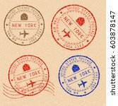 new york mail stamps collection.... | Shutterstock .eps vector #603878147