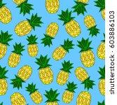 pattern of pineapple.  | Shutterstock .eps vector #603886103