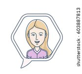 chat bubble with avatar symbol. ... | Shutterstock .eps vector #603887813
