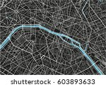 black and white vector city map ... | Shutterstock .eps vector #603893633