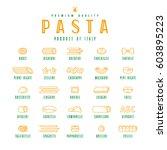 set of icons varieties of pasta.... | Shutterstock .eps vector #603895223