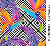 exotic leaves and flowers on... | Shutterstock .eps vector #603902183