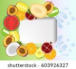 juicy fruit and water splashes... | Shutterstock .eps vector #603926327
