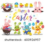 happy easter. easter bunny with ... | Shutterstock .eps vector #603926957