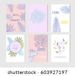 set of artistic creative summer ... | Shutterstock .eps vector #603927197