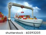 Crane lifting cargo container and loading the ship. My Own Design - stock photo