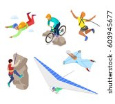 isometric extreme sports people ... | Shutterstock .eps vector #603945677