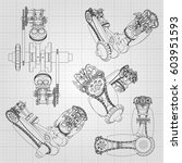 various engine components ... | Shutterstock .eps vector #603951593