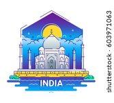 india   modern vector line... | Shutterstock .eps vector #603971063
