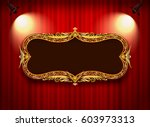 gold photo frame with corner... | Shutterstock .eps vector #603973313
