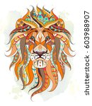 patterned head of the lion on... | Shutterstock .eps vector #603988907