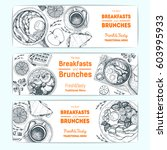 breakfast and brunches vintage... | Shutterstock .eps vector #603995933