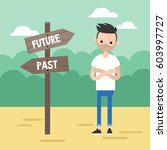 past or future. young concerned ... | Shutterstock .eps vector #603997727